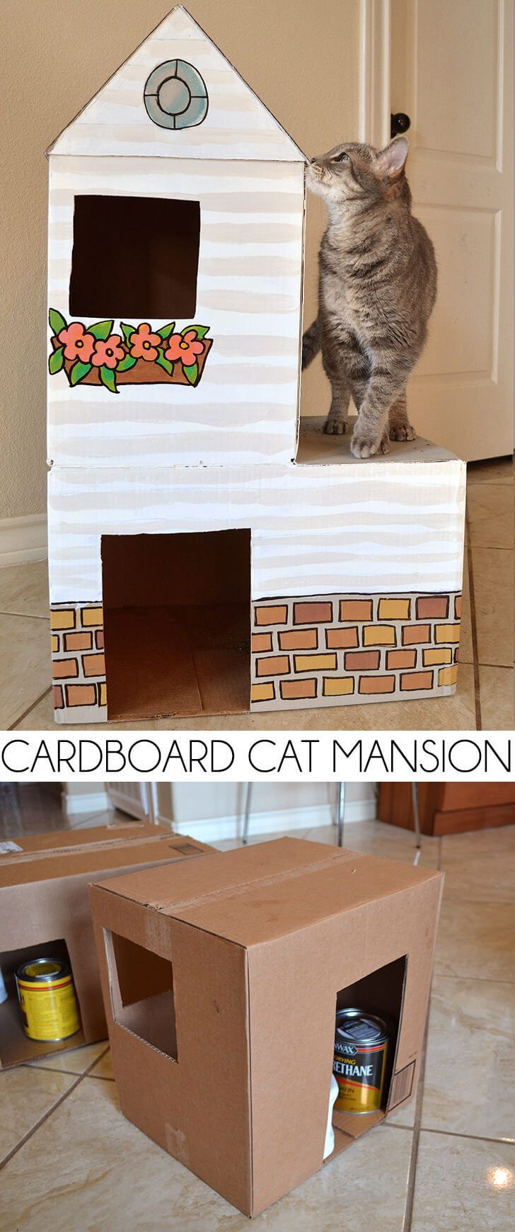 Cardboard cat mansion or a use for amazon prime boxes