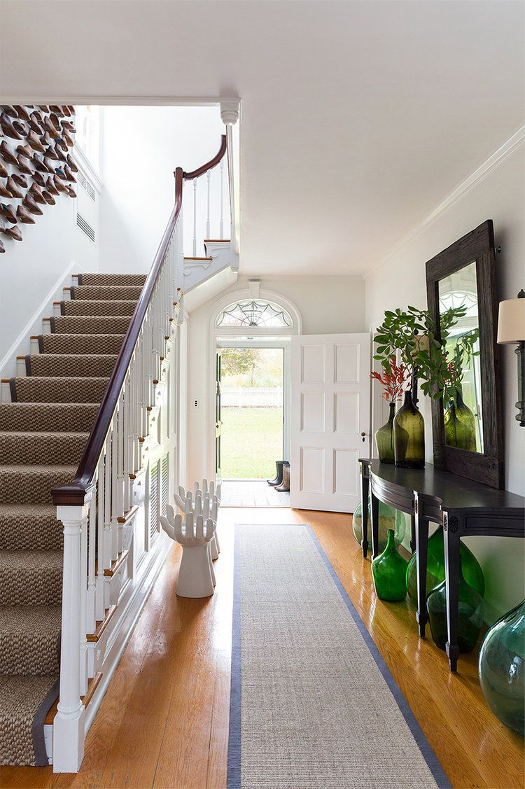 Entry way with unusual wall decor at stair | all before & after ...