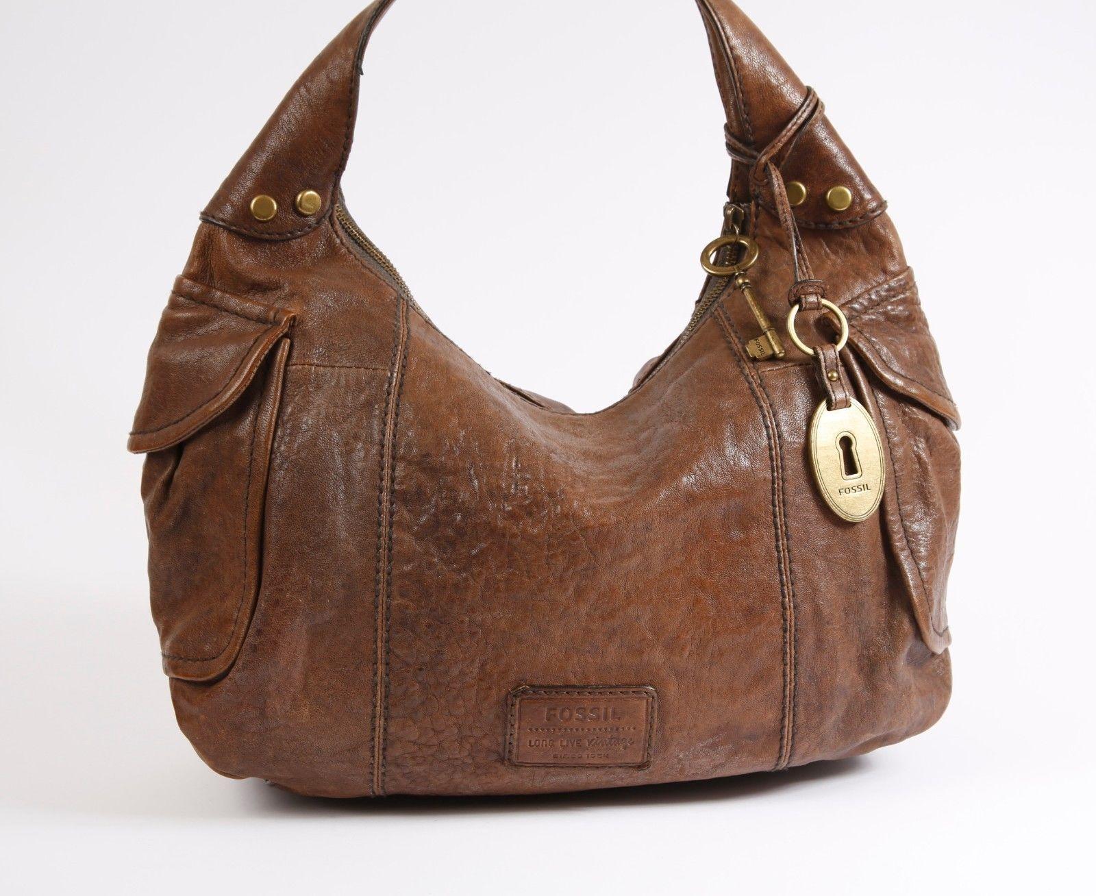 6e193b45b6d8 Fossil - Long Live Vintage 1954 - Brown Leather Hobo - Shoulder Bag ...