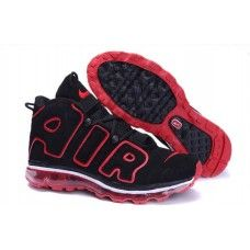 the best attitude 0ef57 059ec Nike Air Max More Uptempo basketball shoes in black and red