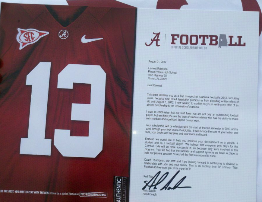 What An Official Offer Letter From Bama Looks Like