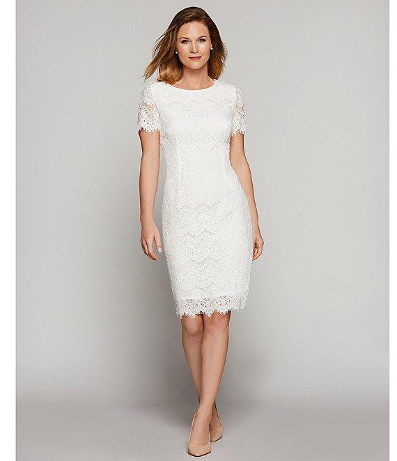 Preston York Felicia Short Sleeve Lace Sheath Dress Dillard S In 2020 Short Lace Wedding Dress Knee Length Lace Dress Short Lace Dress