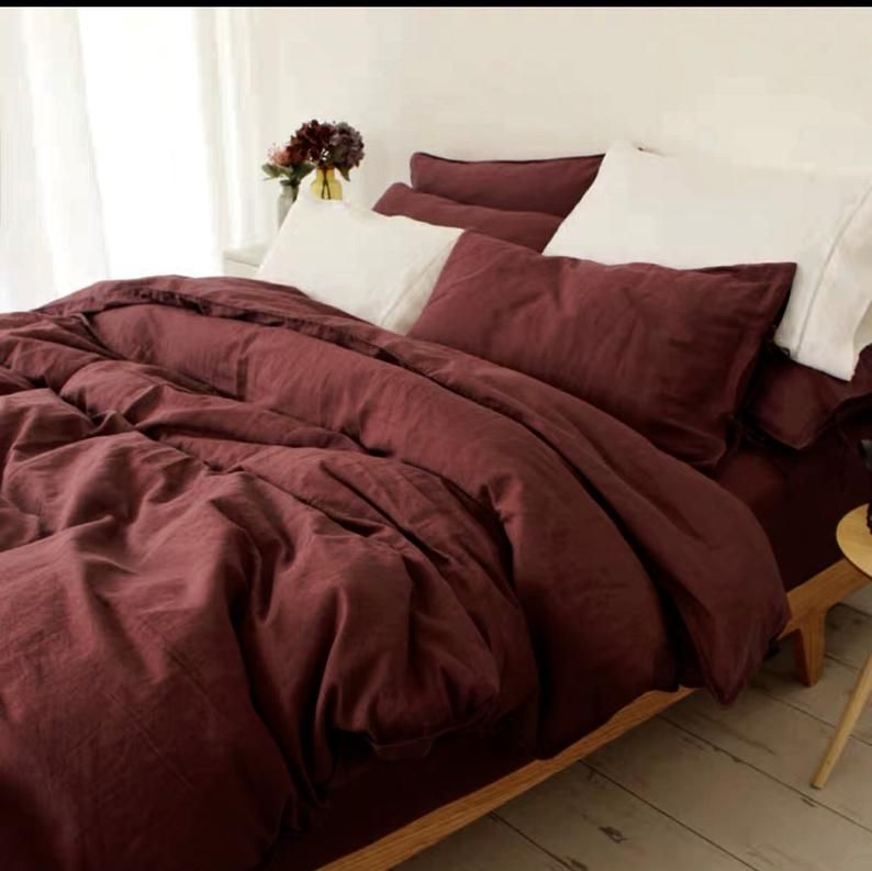 Linen Duvet Cover 100 Natural Stonewashed Linen Duvet Cover In Wine Color Custom Size Made To Order Red Bedding Cotton Duvet Cover King Duvet Cover