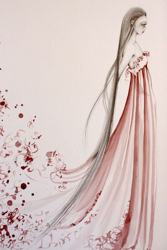 Abstract Wine Staining Painting OOAK Fashion Illustration Pencil Drawing Burgundy Red Wine Dress