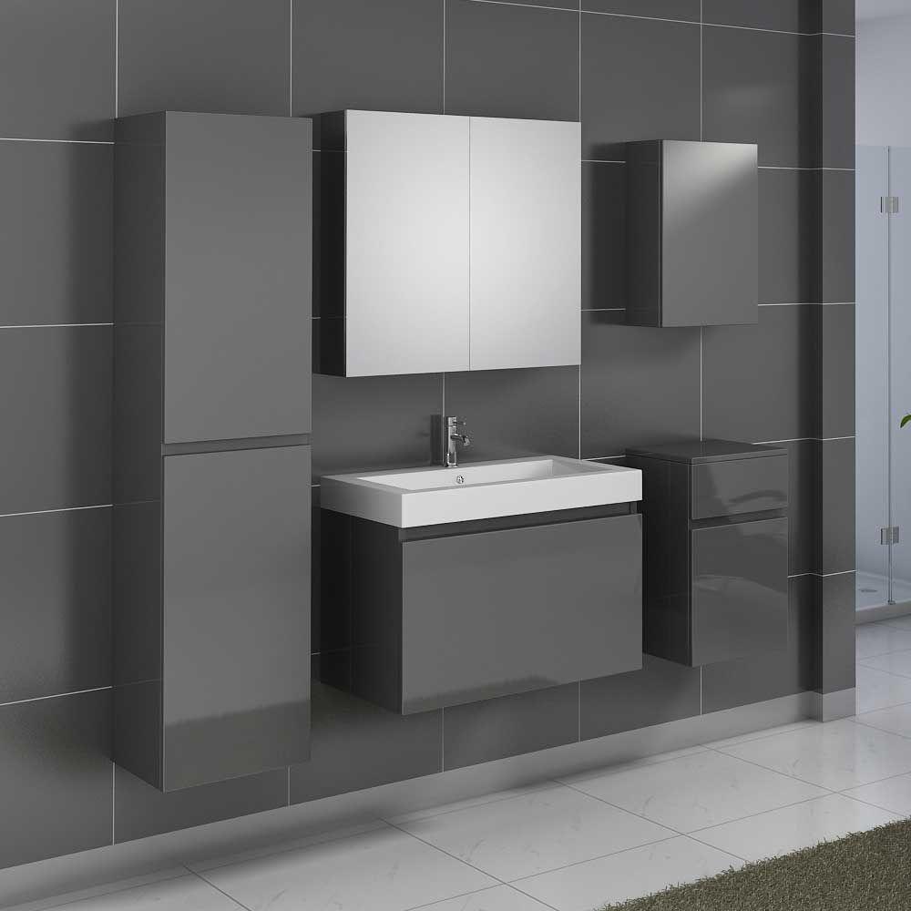 Badezimmermöbel Set In Grau Hochglanz Mit Waschtisch (5 Teilig) Jetzt  Bestellen Unter: