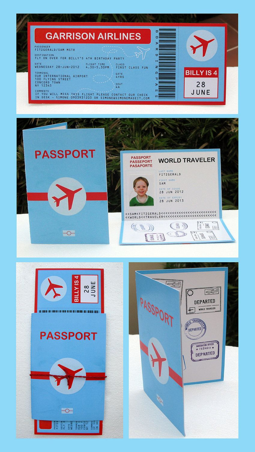 Airplane Party Invitations Decorations full Printable Package