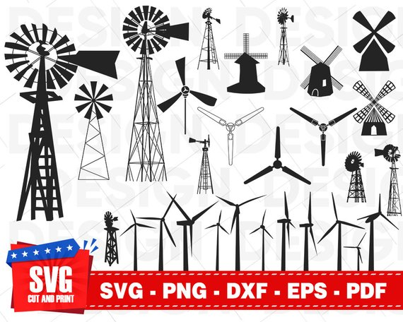 Windmill Svg Wind Turbine Svg Watermill Svg Towermill Svg Etsy Wind Generator Wind Turbine Windmill