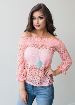 11ed1a8ff53179 Call My People Off Shoulder Lace Top Pink CLEARANCE   Vintage Style ...