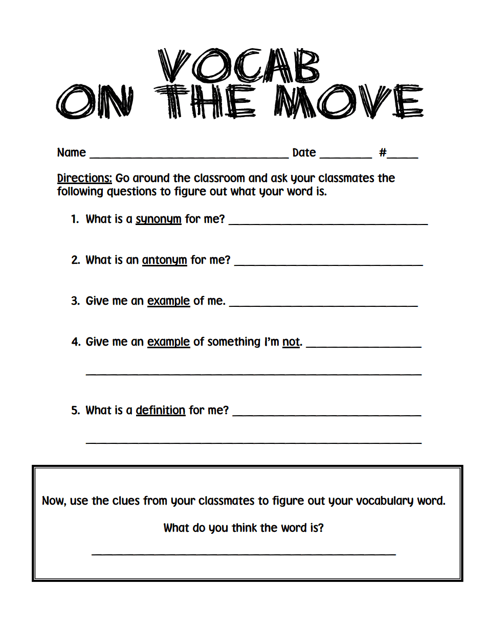 vocab on the move.pdf   Vocab, Word work centers, Writing ...