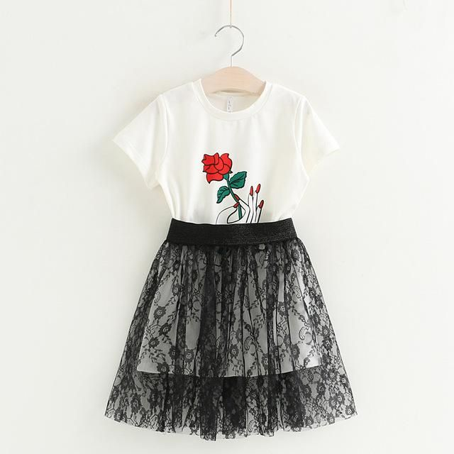 Girls Dress New Girls Clothing Sets Rose Flower Long T-shirt+Bud Silk Skirt for Girls Suits