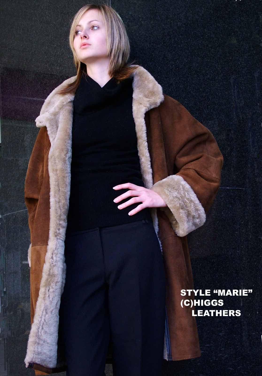 Higgs Leathers Marie (3/4 length ladies swingback Merino Lambskin coats)