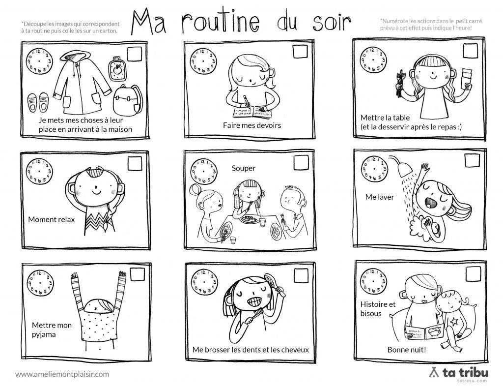Très routine_du_soir_filles_noir_blanc | Gestion du temps enfants  CI82