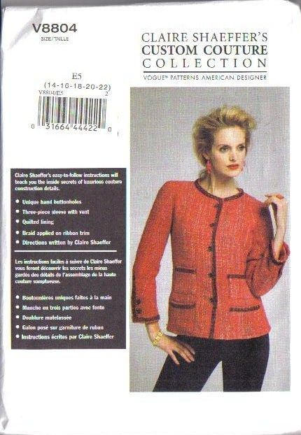 Vogue Sewing Pattern 8804 Claire Shaeffer\'s Custom Couture ...