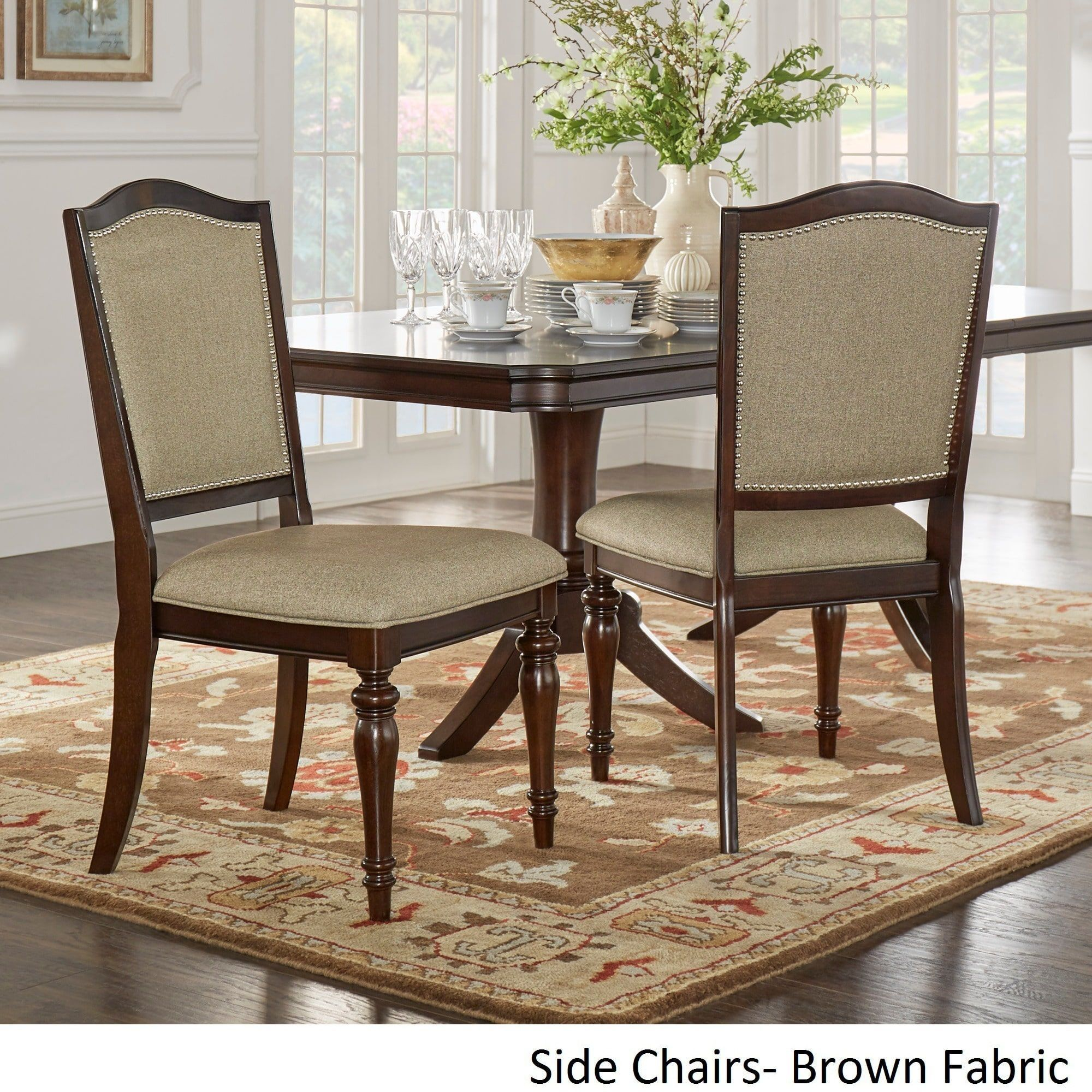 Tribecca Home LaSalle Espresso Nail Head Accent Transitional Dining Side Chairs