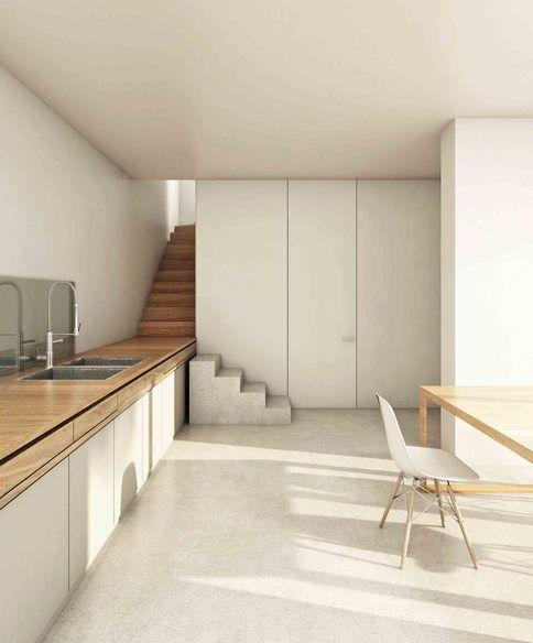 Minimalistische Küche in weiß und hellem Holz - Minimal kitchen in