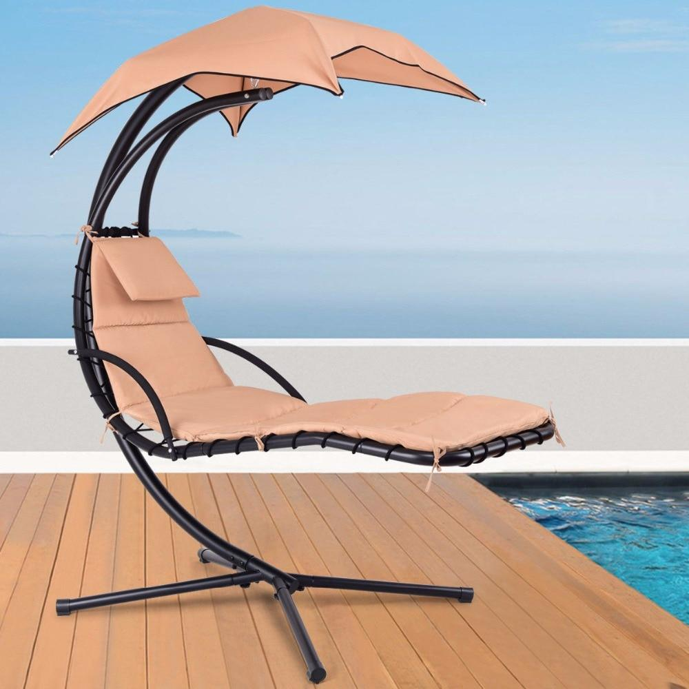 Hanging Chaise Lounge Chair With Stand And Canopy Sun Shade Beige Hammock Swing Chair Loungers Chair Chaise Lounger