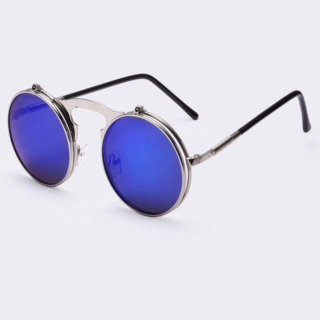 e774a99415e VINTAGE STEAMPUNK Sunglasses Round Designer Metal Women COATING SUNGLASSES  Men Retro CIRCLE SUN GLASSES