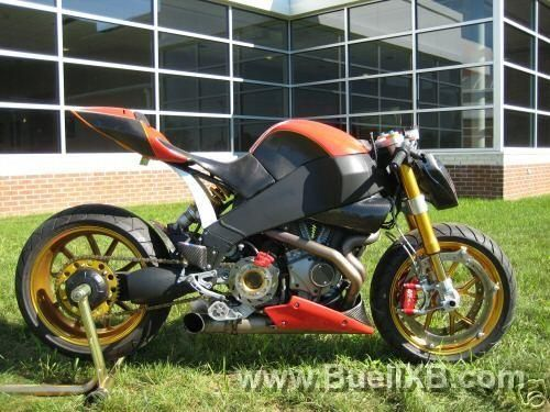Custom Buell with single sided swing arm, dual front rotors, and crazy custom rear brake set up. http://www.buellxb.com/buell_images/3732_20100513211003_L.jpg