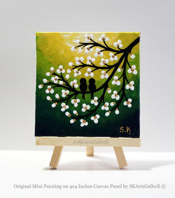 Mini Canvas Art Love Birds Painting Yellow Green Artwork