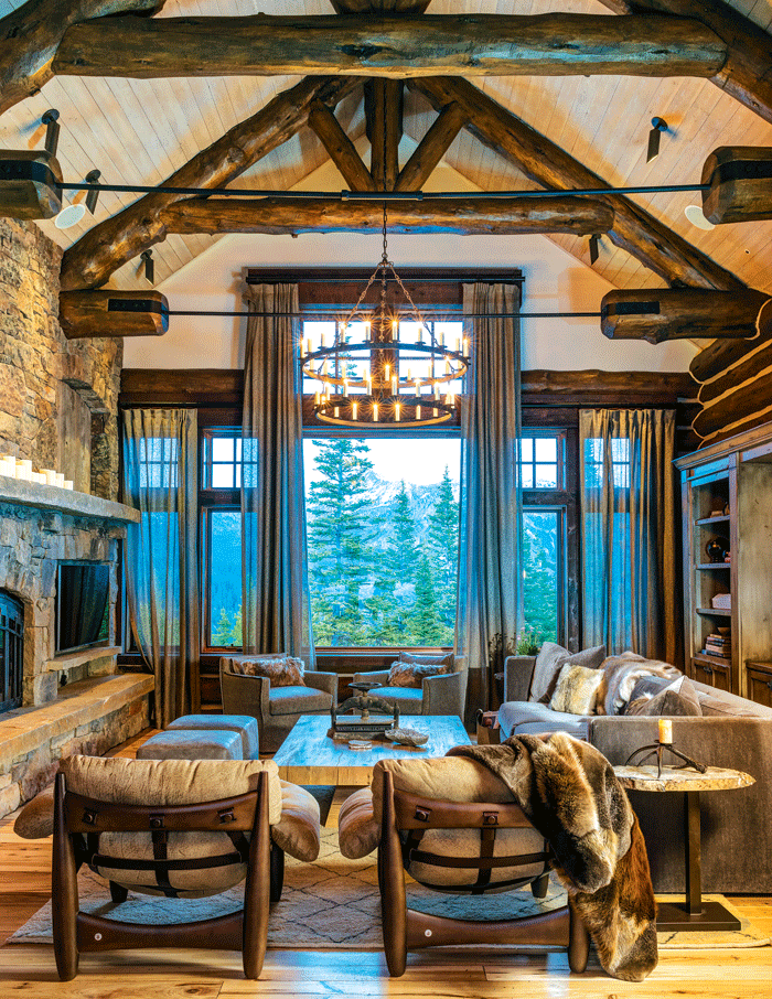 A Montana Home Renewed With Rustic Style Mountain Living Modern Rustic Living Room Rustic Living Room Modern Rustic Decor Living Room