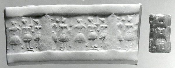 Cylinder seal From Crete- 14-13th century BC made of chlorite or steatite - just under one inch. Now in the MET museum.