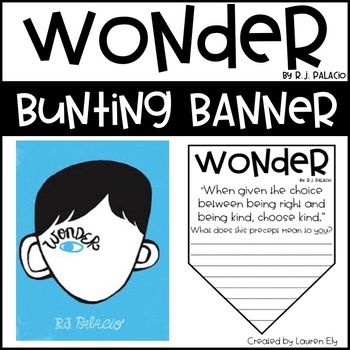 Wonder By R J Palacio Precept Bunting Banner Teaching Wonder