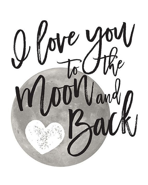 I LOVE YOU TO THE MOON AND BACK Word Typography Words Quote Nursery Baby Wife
