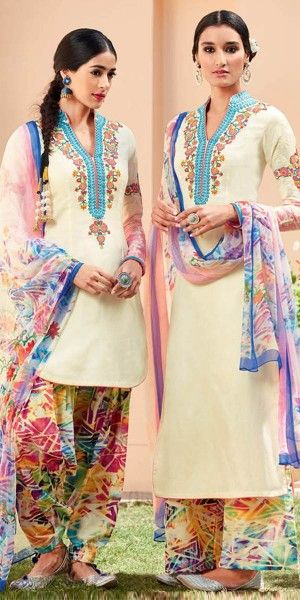 Blossom Cream And Multi-Color Cotton Salwar Suit With Dupatta.