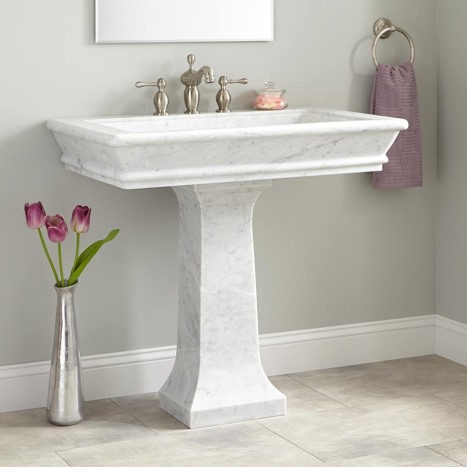 36 Polished Carrara Marble Pedestal Sink 36