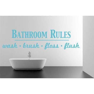 "The Decal Guru Bathroom Rules Wall Decal Size: 17"" H x 65"" W x 0.01"" D, Color: Geyser Blue"