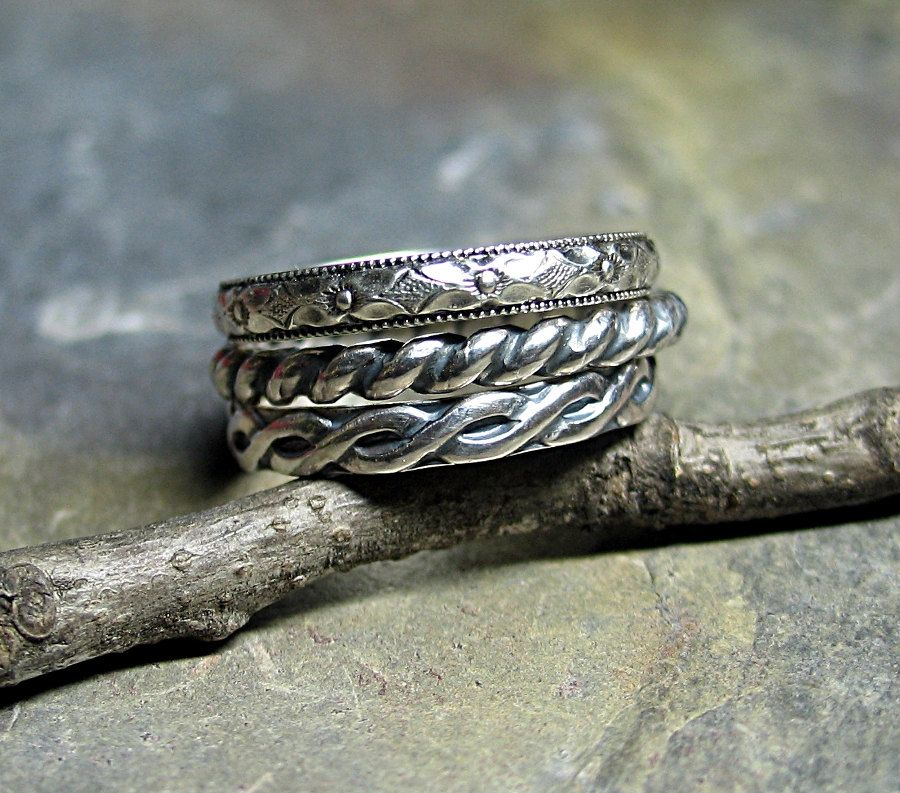 Stacking rings sterling silver pattern wire set of three - Three\'s ...