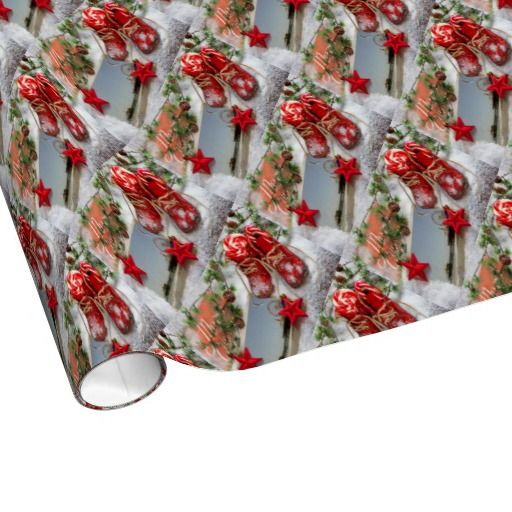 Red Christmas Santa Monica Pier Gift Wrap Paper