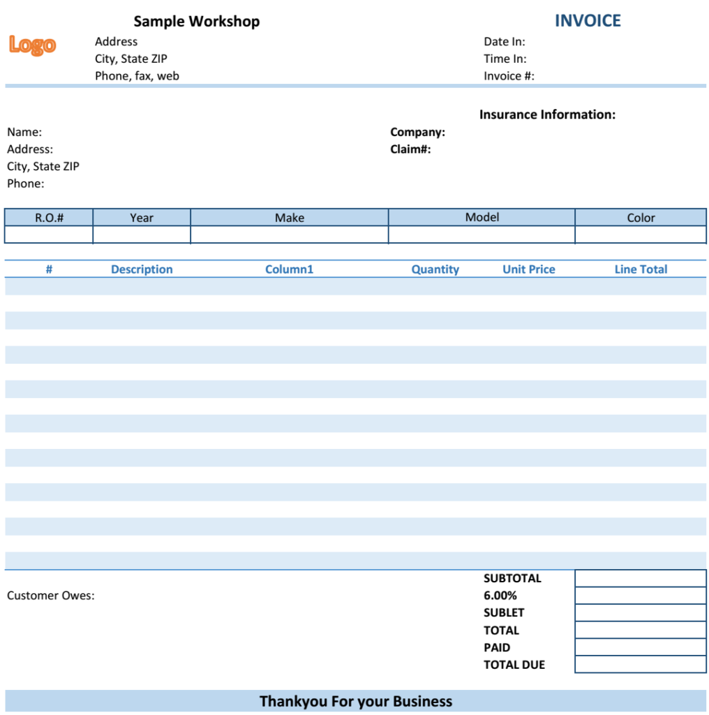 Retail Invoice Template  Excel Template