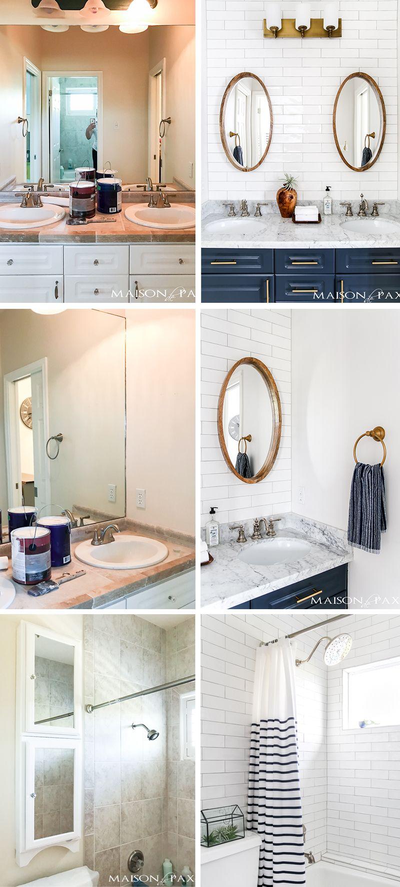 Navy And White Bathroom Makeover Maison De Pax White Bathroom Bathrooms Remodel Small Bathroom Renovations [ jpg ]