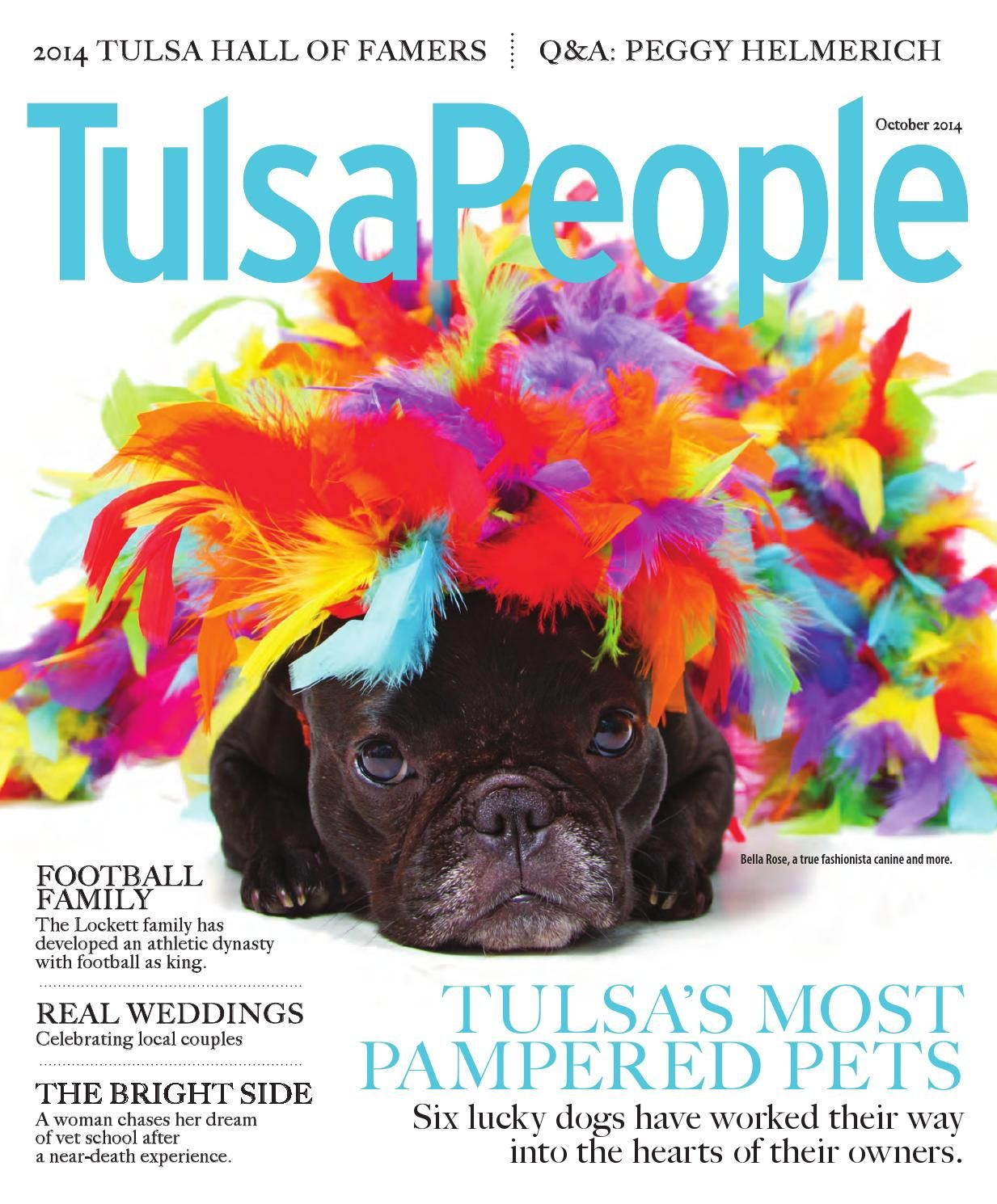 """""""Tulsa's most pampered pets"""" In March 2014 at the Oklahoma Alliance for Animals' Fur Ball, Bella wore a ball gown by Orostani Couture. When she was photographed with Carrie Underwood, the country music star joked that she had a dress just like Bella's. Price tag for the ball gown (Bella's, not Carrie's): around $250. Her toenails were painted pink and green to match the dress. Like you didn't know that."""