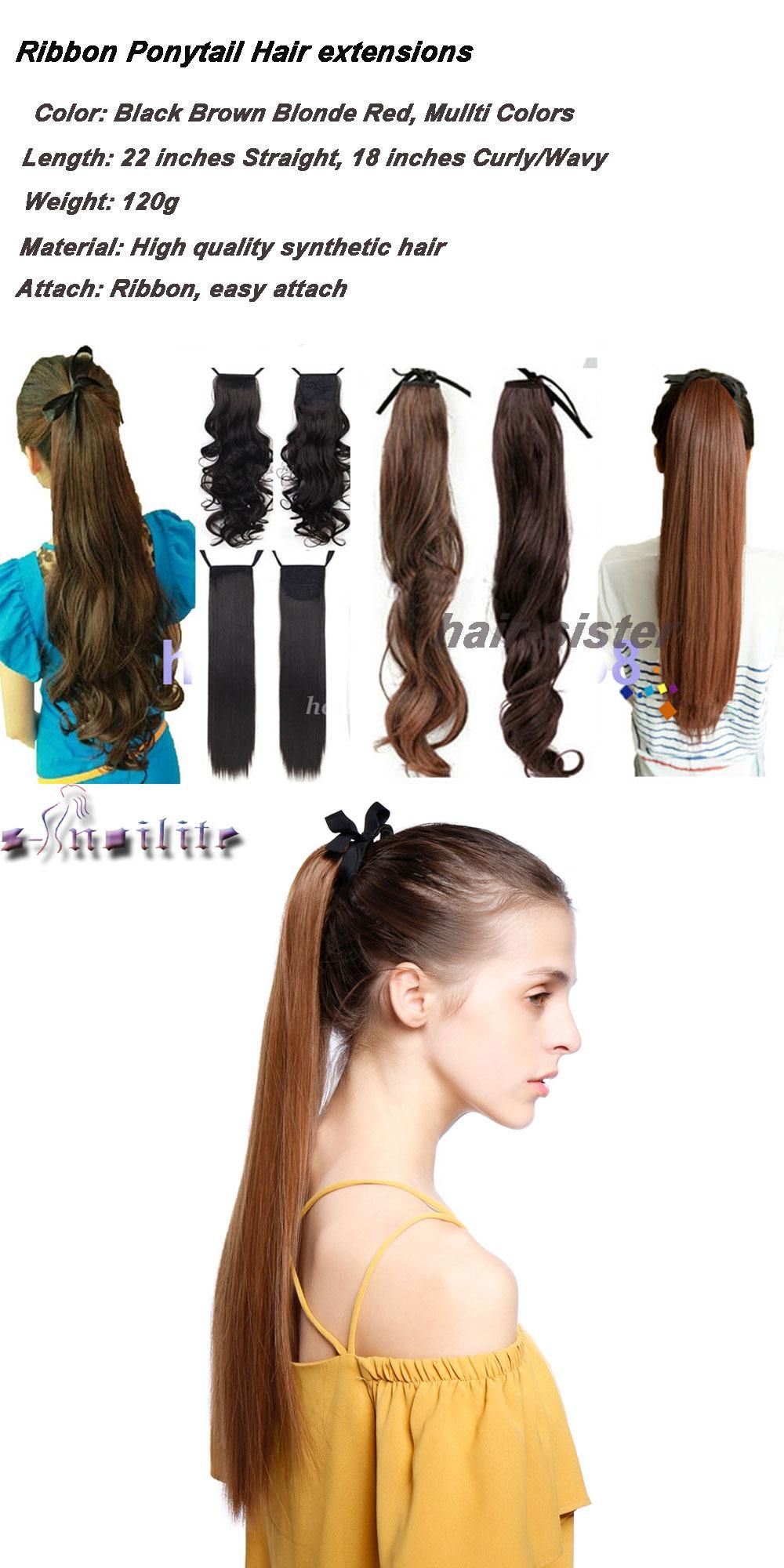S Noilite 22 Inches Straight Clip In Ponytail Hair Extensions