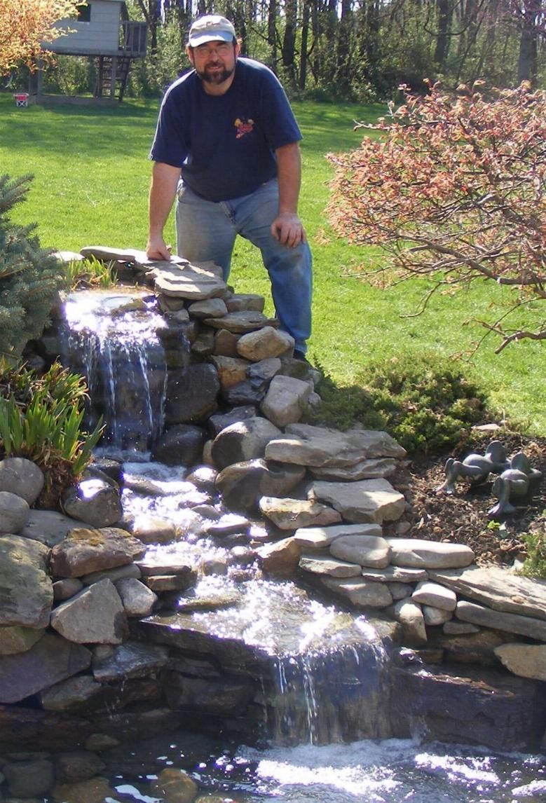 Garden pond with waterfall for back east corner Green Thumb
