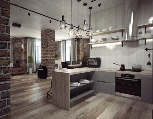 Кухня - гостиная в стиле лофт. Гостиная   Элитные дома ...