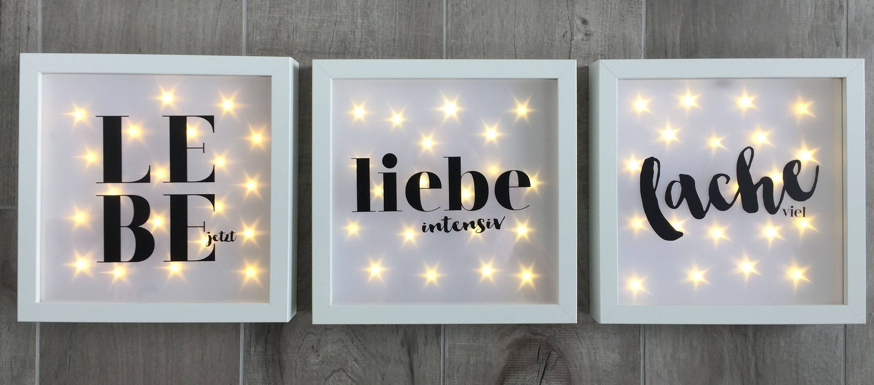 illuminated picture frame with spell wall led frame decoration ideen rund ums haus. Black Bedroom Furniture Sets. Home Design Ideas