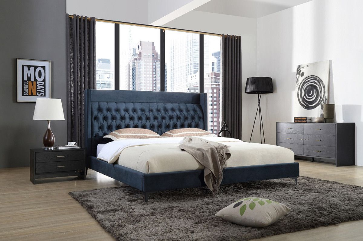 Modrest Wales Modern Blue Fabric Bed Modern Bedroom Furniture