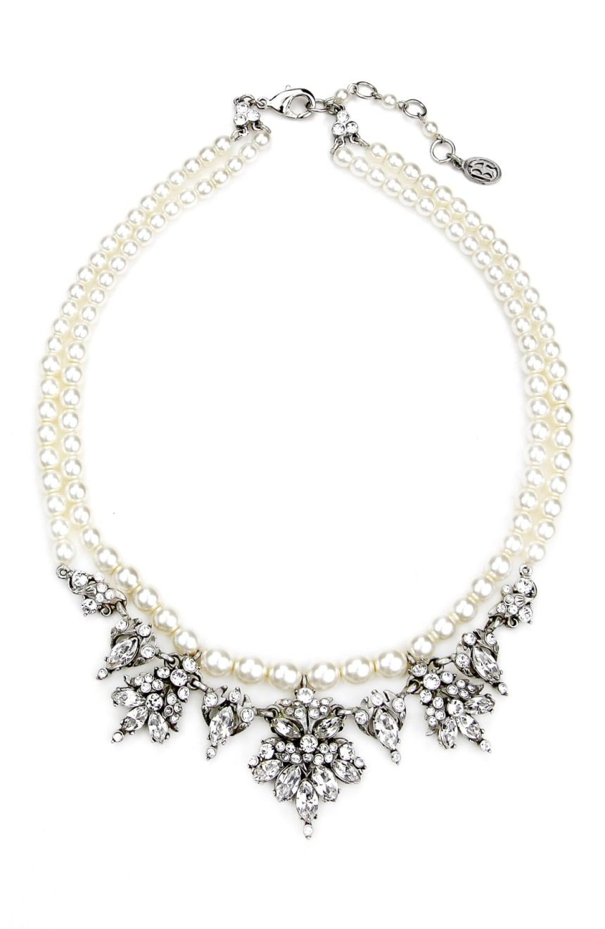 BEN-AMUN Faux Pearl & Crystal Collar Necklace | Nordstrom