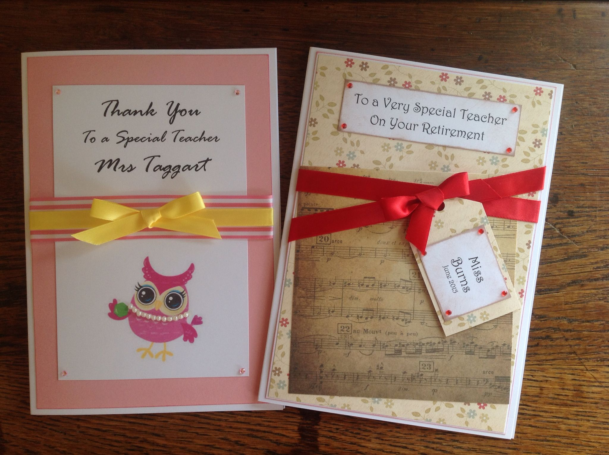 I do love the little owls but this retirement card for a music