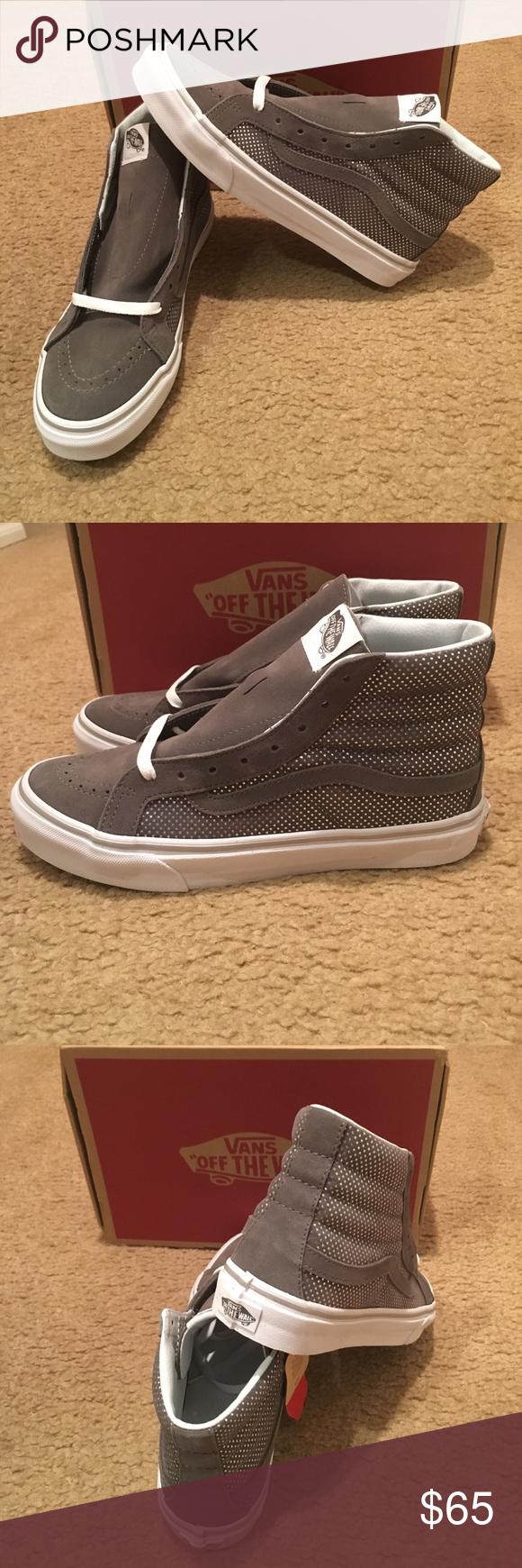 38b6e066c1 Metallic Dots SK8Hi Slim Vans New in box. Dark Grey Vans Shoes Sneakers