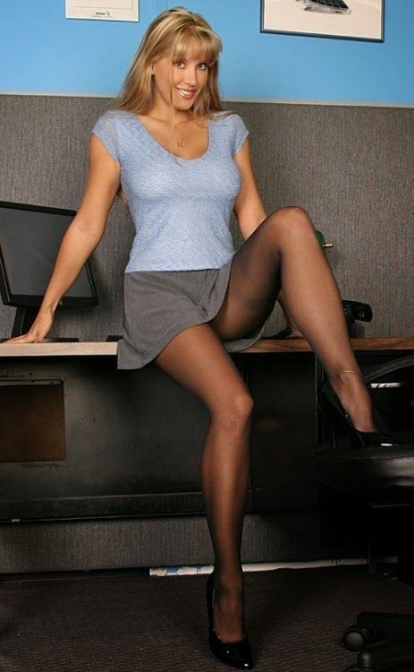 Nylon pantyhose secretary