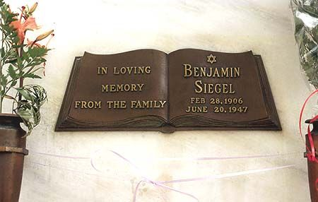 """THE GRAVE OF BENJAMIN """"BUGSY"""" SIEGEL at Hollywood Forever Memorial Park, in Hollywood, California"""
