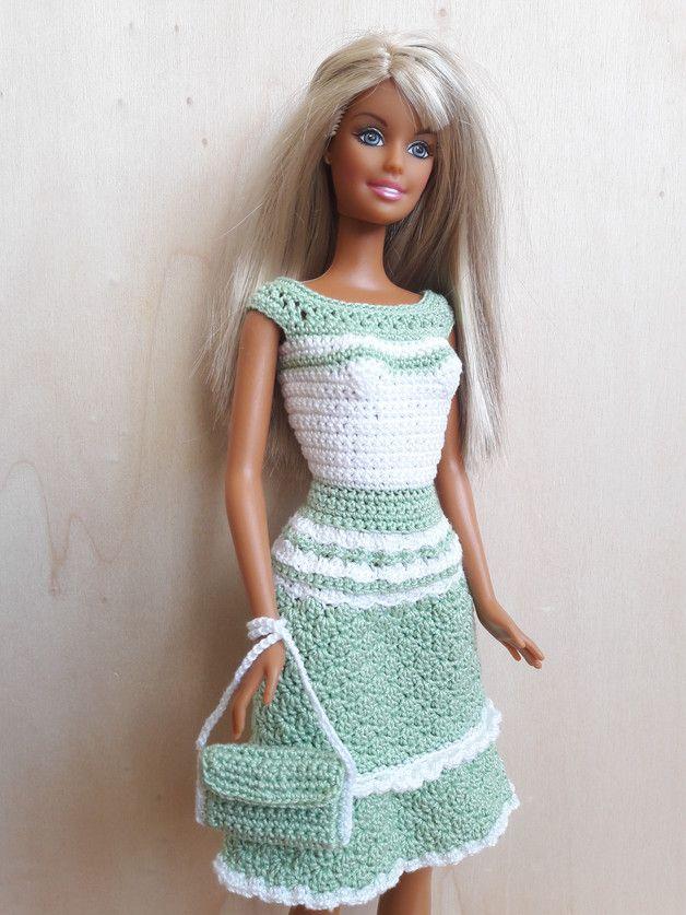 Puppenkleidung Barbie Kleid Gehäkelt Hellgrünweiß Ein