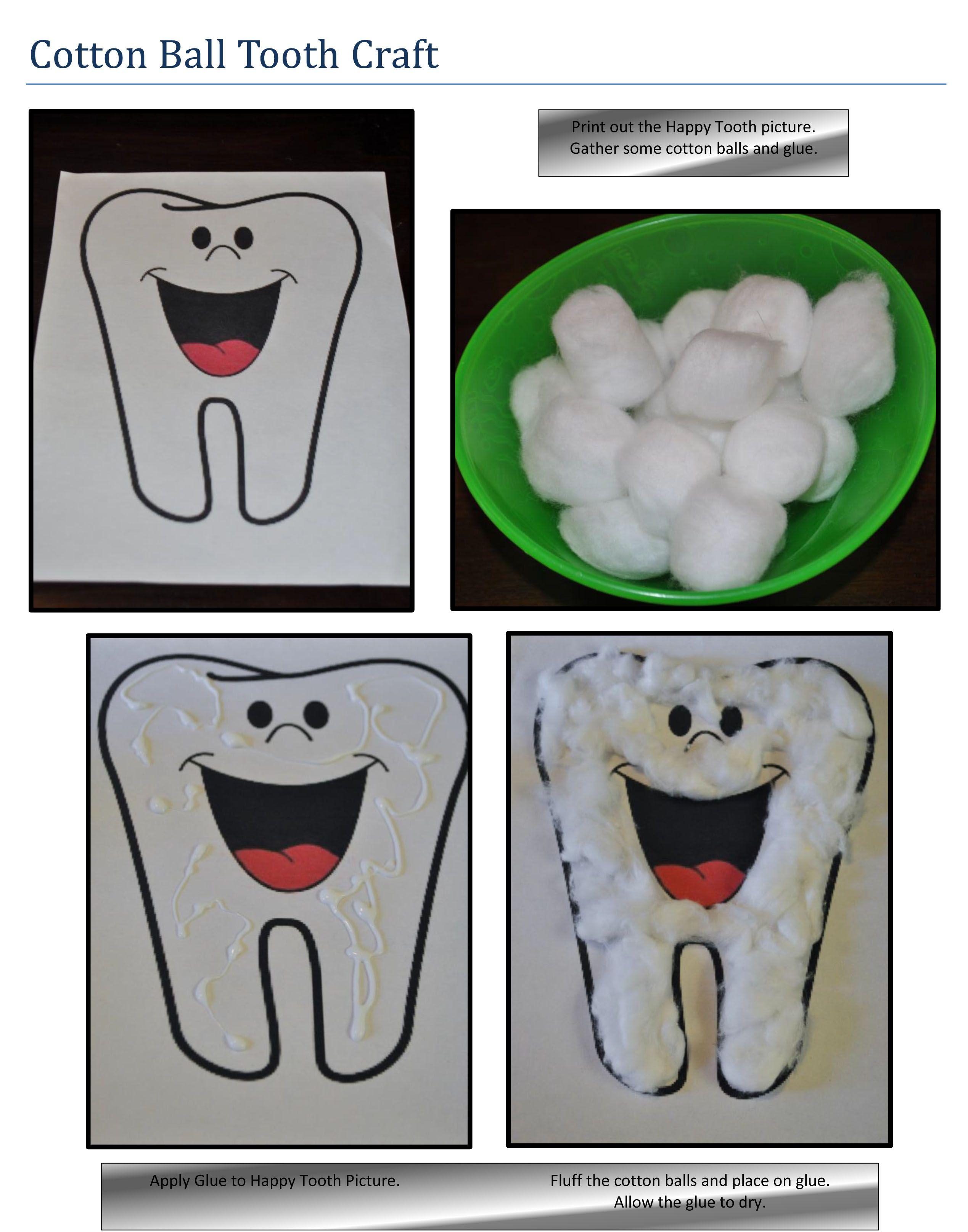 Cotton Ball Tooth Craft Dental Health Preschool Preschool Crafts Dental Health [ 3230 x 2538 Pixel ]