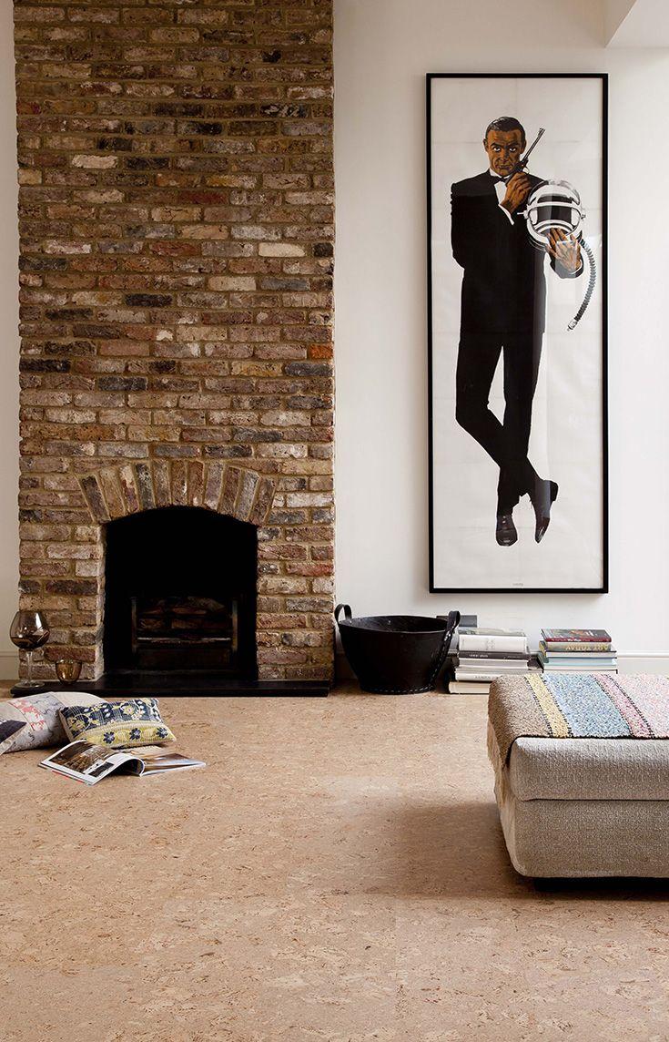 Natural cork flooring in a contemporary living room cork flooring