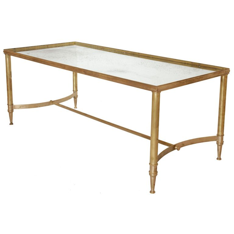 French Vintage Brass and Mirror Coffee Table