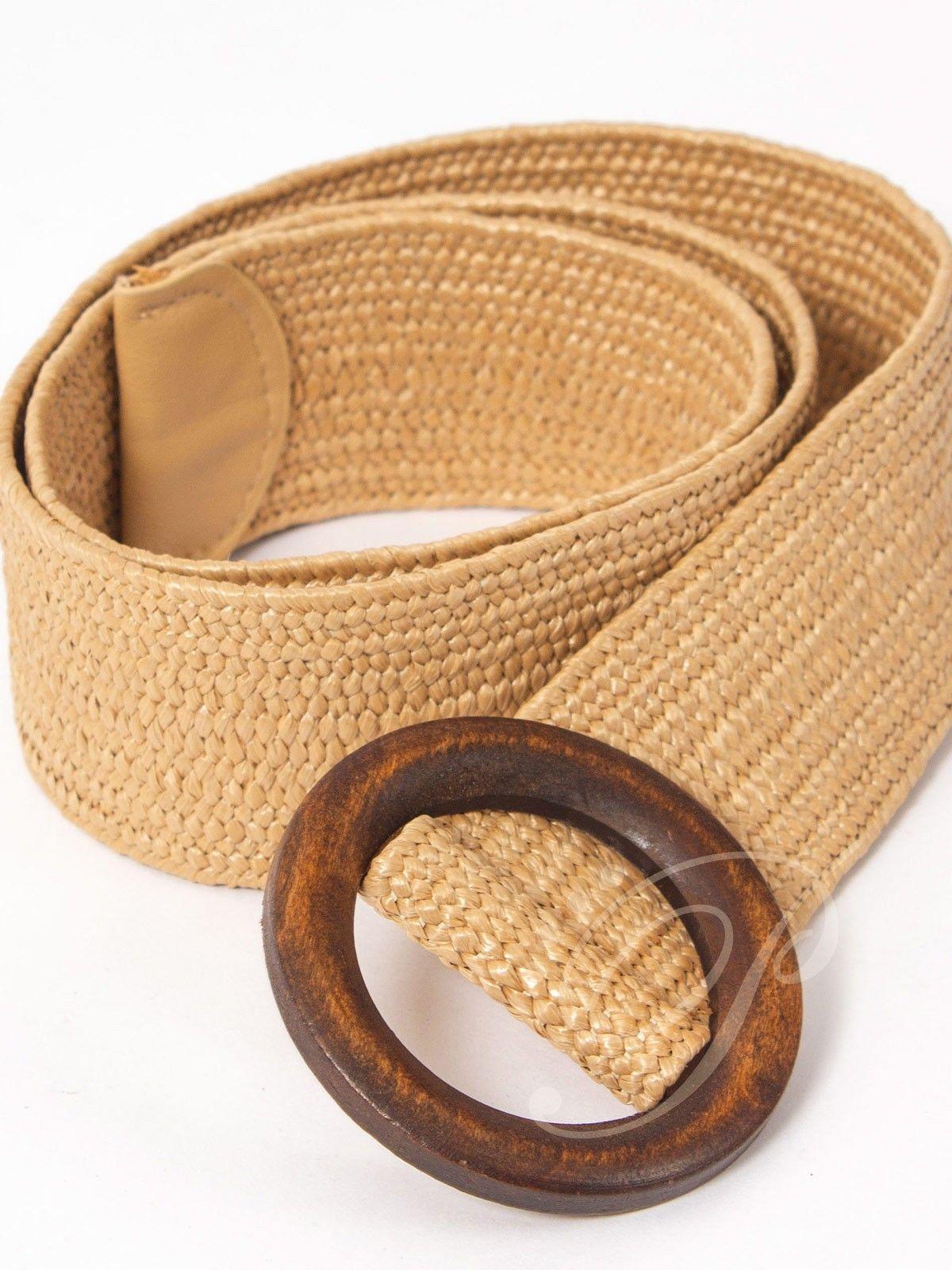 Cinturón Rafia - Cinturón todo de rafia con bordes sellados en piel y  hebilla de madera 28875aef8698